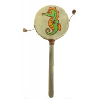 Monkey Drum - Seahorse Design - Great Sound, Fair Trade, Brightly Painted - Ideal for Kids
