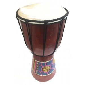 Djembe Drum - Dot Painted Aboriginal Style - 25 cm high  Fair Trade