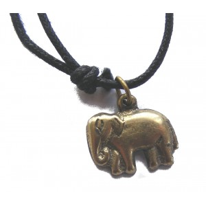 Lucky Hand Cast Bronze Elephant pendant necklace. Handmade in Kathmandu, Nepal.