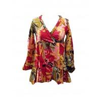 Ethnic Bold Flower Print Pale Blue & Pink Abbie Blouse - Fair Trade 100% Cotton