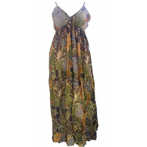 100% Soft Cotton Bold Earthy Brown Flower Patterned Long Louisa Summer Maternity Dress  - Fair Trade