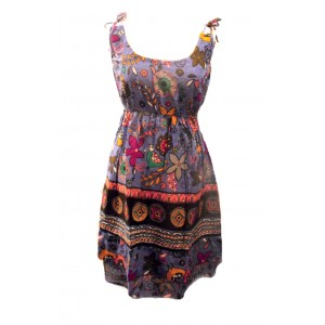 100% Cotton Colourful Purple Elephant Print Hattie Short Sundress - Fair Trade