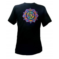 Fair Trade Embroidered Yin Yang Mandala T Shirt ( Black T Shirt)