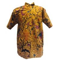 Vintage Brown / Yellow Batik Short Sleeve Shirt - Batik from Solo, Indonesia - Fair Trade