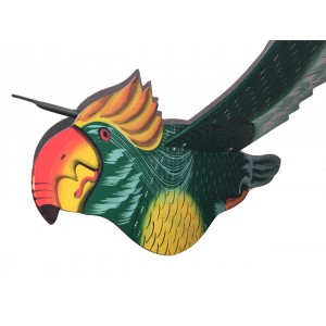 Fair Trade Hand Painted Green Flapping Parrot Mobile / Hanging