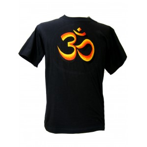 Fair Trade Embroidered Classic Orange Om T Shirt ( Black T Shirt)