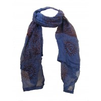 Fair Trade Cotton Hand Printed Blue Ram Nami Scarf