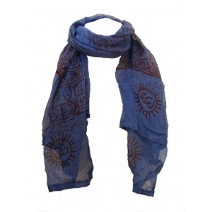 Fair Trade Cotton Hand Printed Blue Ram Nami Scarf