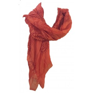 Fair Trade Cotton Hand Printed Orange Ram Nami Scarf