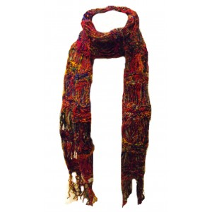 Beautiful Multicoloured Hand Knitted Fair Trade Reclaimed Silk Scarf