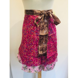 Fair Trade Short Sari Silk  Reversible Tiered Wrap Skirt - Hot Pink / Pale Pink Design
