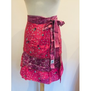 Fair Trade Short Sari Silk  Reversible Tiered Wrap Skirt - Pink Tiered Design