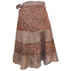 Fair Trade Short Sari Silk  Reversible Tiered Wrap Skirt - Brown Tiered Design