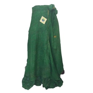 Fair Trade Full Length Sari Silk  Reversible Wrap Skirt - Green Classic Design