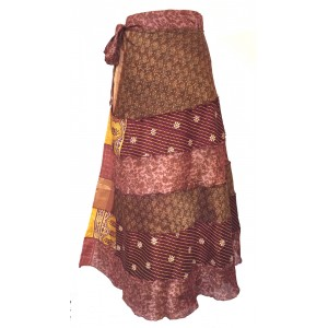 Fair Trade Tiered Full Length Sari Silk  Reversible Wrap Skirt - Yellow / Brown Design