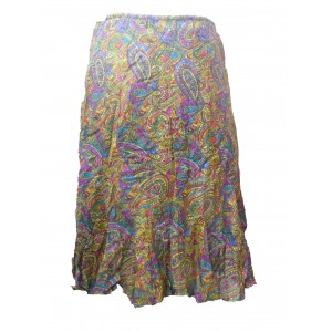 Fair Trade Cotton Jalabi Skirt - Yellow Pink Paisley Print