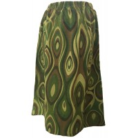 Fair Trade Cotton Jersey Elasticated Retro Spiral Skirt - Greens and Browns