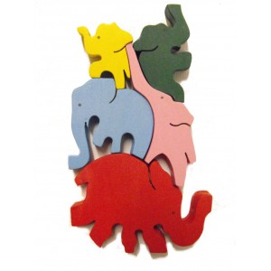 Colourful Wooden Balancing Elephants Puzzle / Toy - Fairtrade - Suitable for both adults and children