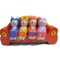 Quirky Fair Trade Wooden Hand Painted Four Cats on a Sofa