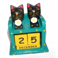 Fair Trade Perpetual Wooden Cat Calendar