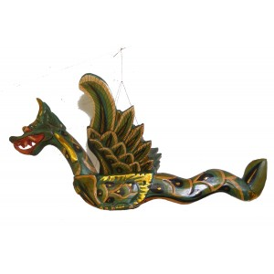 Hand Carved Balinese Green and Gold Barong ( Mytholgical Dragon )