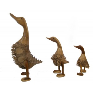 Hand Carved Wooden Bamboo Root Ducks - choice of 3 sizes