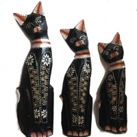 Fair Trade Family of Hand Carved Wooden Balinese Cats - Choice of 3 different size Cats