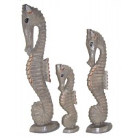 Shabby Chic Hand Carved Natural Wooden Seahorses - choice of 3 sizes - Fair Trade