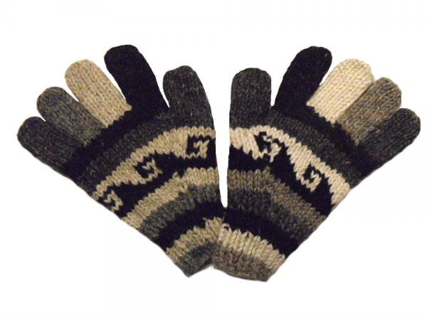 Fair Trade Handknitted Woollen Black and White Gloves with Tibetan Design