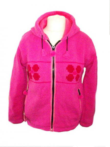 Fleece Lined Dark Pink Daisy Handknitted Woollen Jacket - Fair Trade