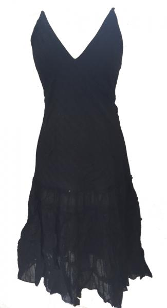 Classic Floaty Black Indian Cotton Maria Midi Length  Summer Sun Dress - Fair Trade 100% Cotton
