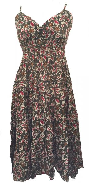Forest Green Abstract Floral Patterned Toto Short Summer Dress - Fair Trade 100% Cotton