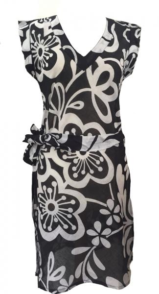 100% Soft Cotton Black & White Carina Short Summer Dress / Long Top / Kaftan - Fair Trade