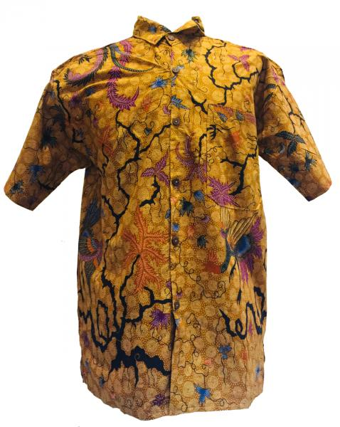 Vintage Brown / Yellow Batik Short Sleeve Shirt - Batik from Solo, Indonesia - Fair Trade