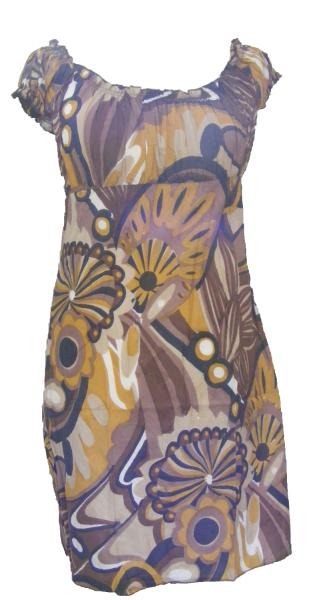 100% Soft Cotton Short Brown / Yellow Shelley Bold Patterned Summer Dress / Long Top - Fair Trade