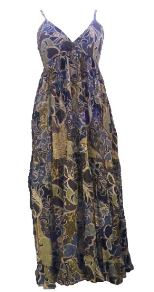 100% Soft Cotton Soft Blues, Greens and Greys Flower Patterned Long Louisa Summer Maxi Dress  - Fair Trade