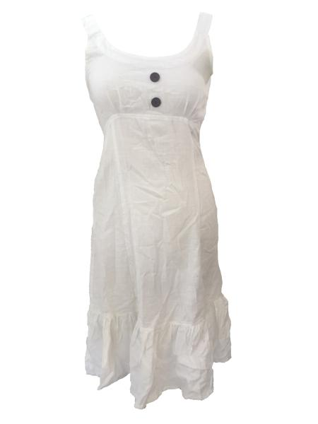Cream Handloom Cotton Anna Linen Effect Short Dress with Ruffle - Fair Trade